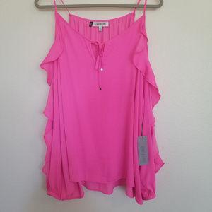 J'Lo Pink Ruffle Blouse - Size XL NWT